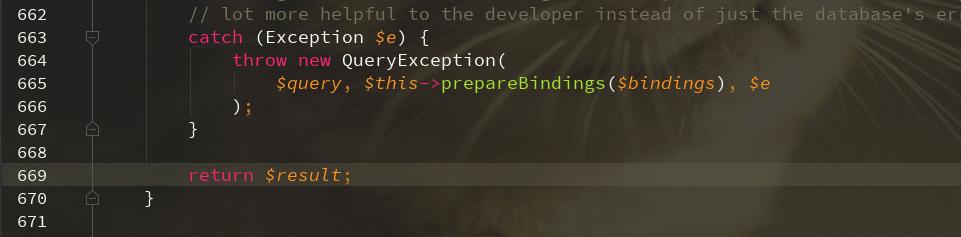 5.5版本抛出的QueryException捕获不到是为什么?