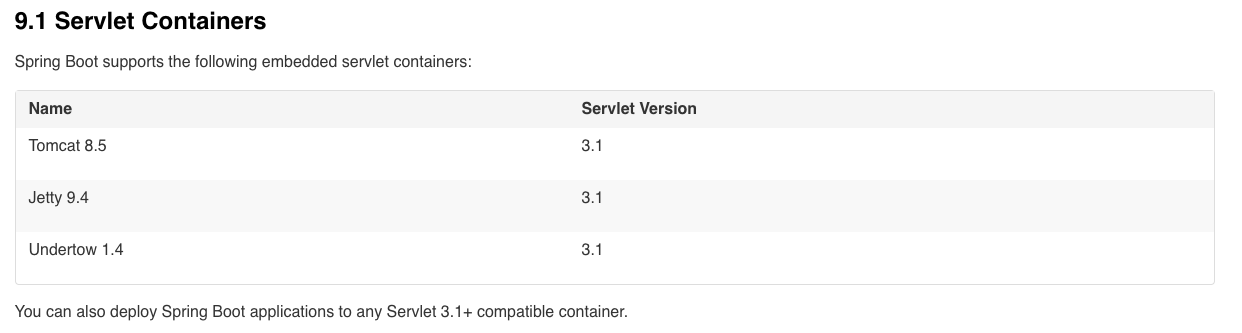 SpringBoot 中的Servlet Web容器