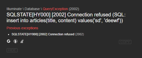 在laradock中无法访问到mysql(laravel项目报2002错误)的问题。