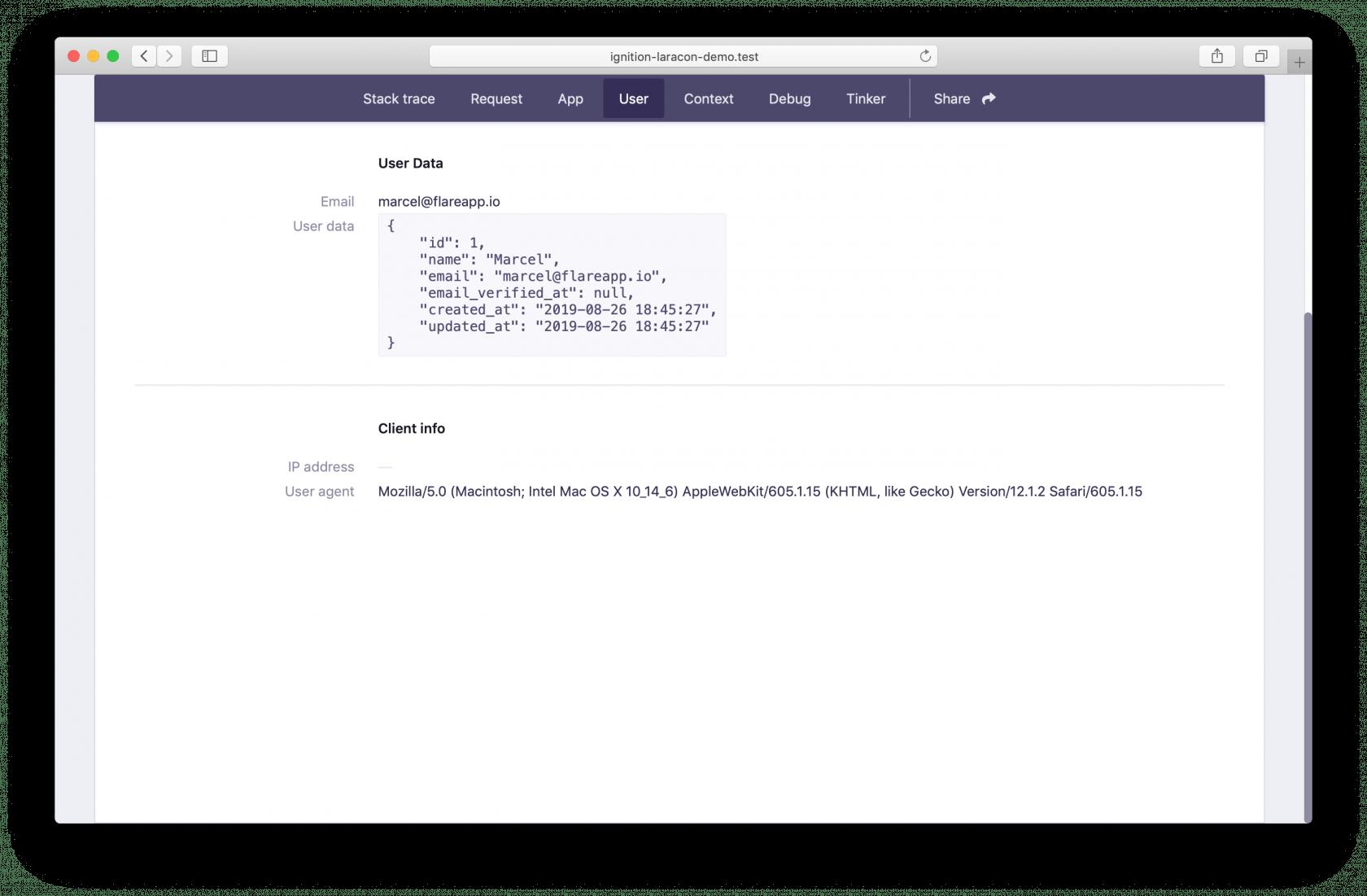 User tab