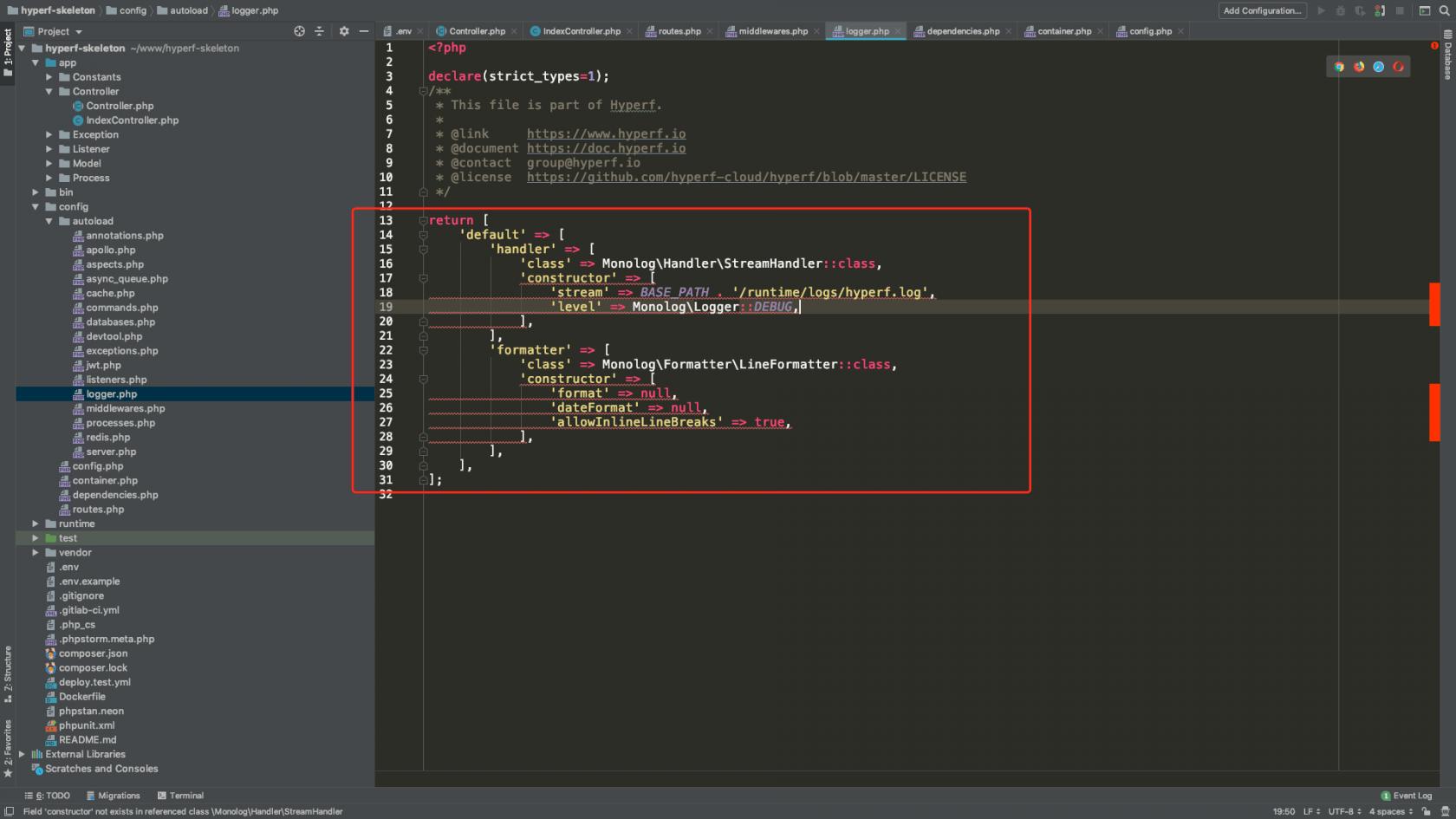 hyperf在phpstrom中语法怎么能够得到支持,安装了swoole还是报红,请各位指点!