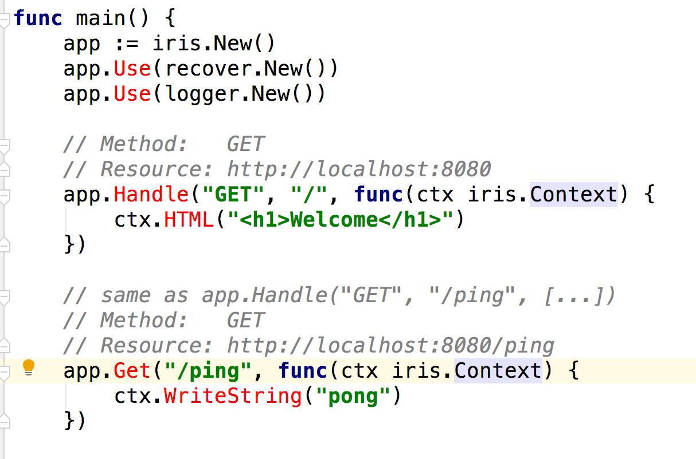 我用golang编写iris代码是红色的
