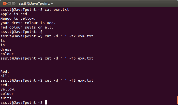 Linux Cut Filter2
