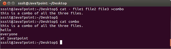 Linux cat concatenate2