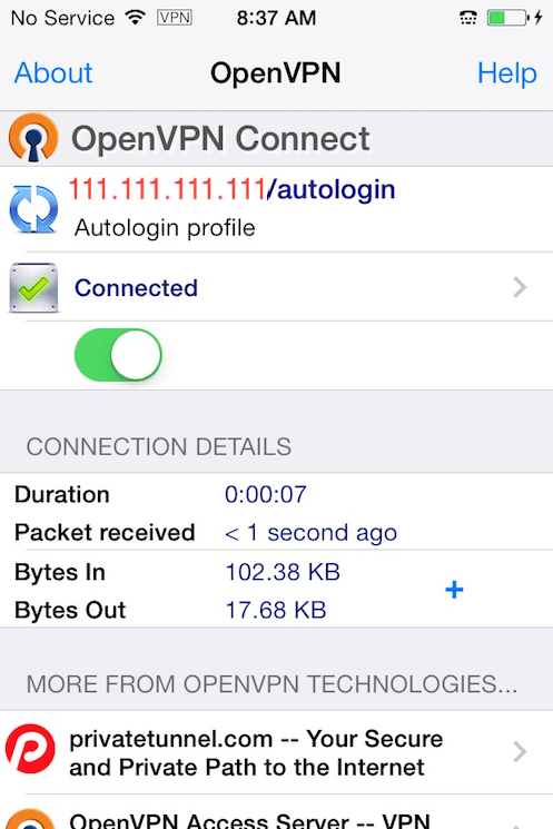 The OpenVPN iOS app connected to the VPN