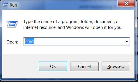 """Type """"cmd"""" in the """"Run"""" window"""