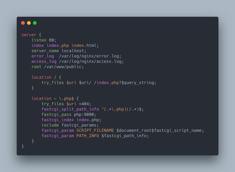 Screenshot of the default nginx configuration