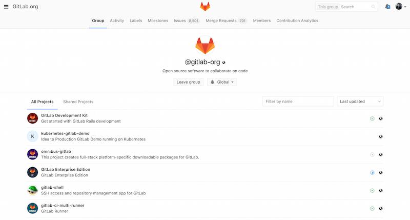 GitLab 组管理界面。