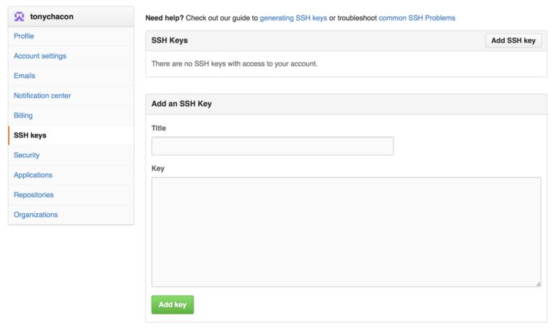 """SSH keys""链接。"