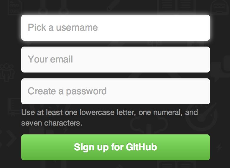 GitHub 注册表单。