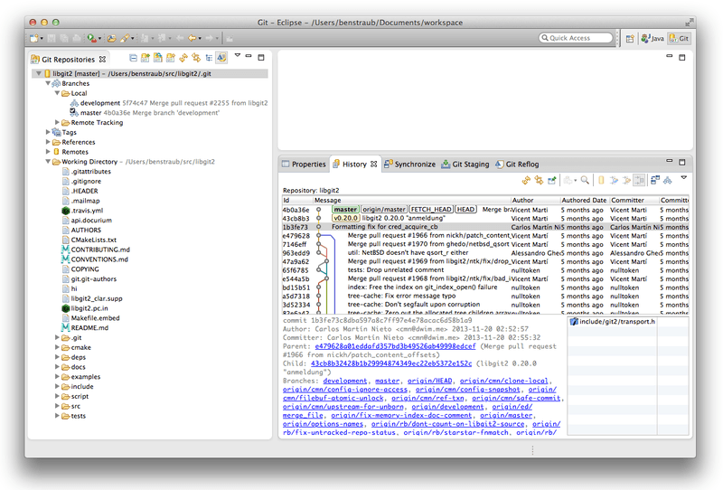 Eclipse 中 EGit 的界面环境。
