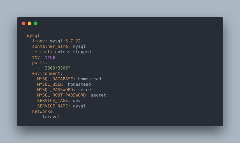 docker-compose.yml screenshot adding the mysql service