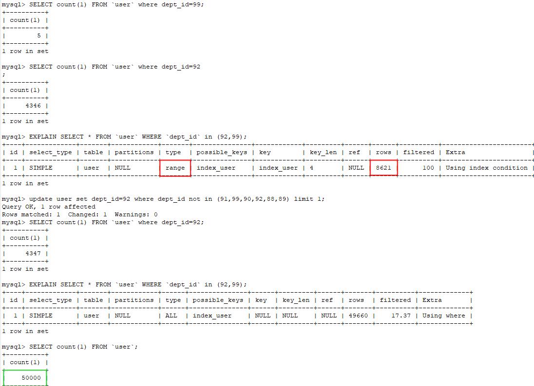 MySQL学习笔记:索引失效