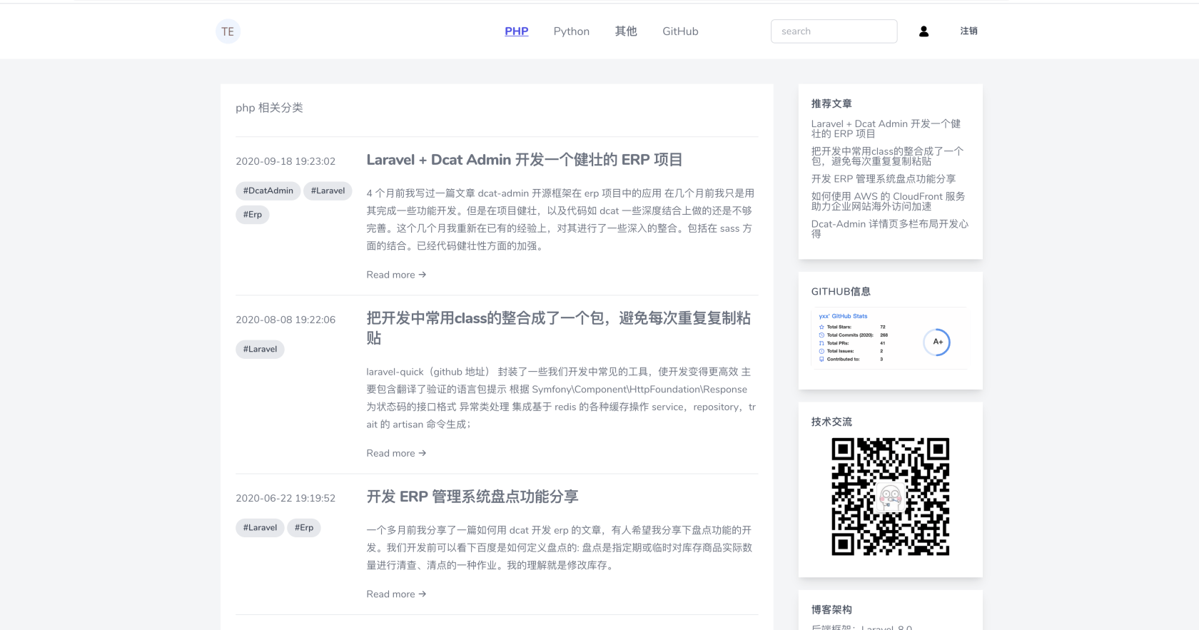 Livewire-Blog  (用 Laravel 8 + Jetstream 构建的一个开源博客)