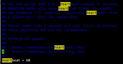 rabbitmq服务端设置心跳参数无效