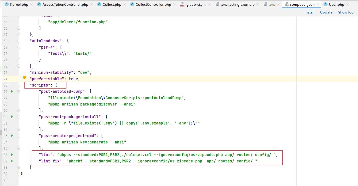Gitlab CI/CD 文件编写 推送代码  支持Psr规范性检查,自动化Phpunit测试