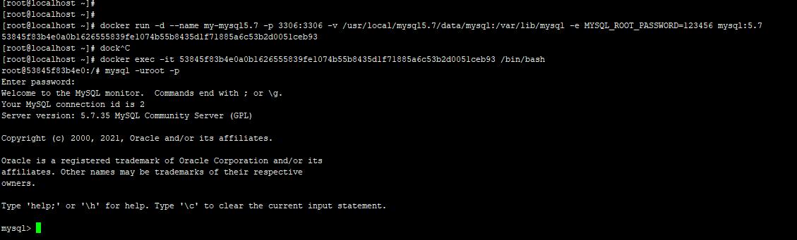 Docker安装运行Mysql 5.7.31容器并修改数据库密码